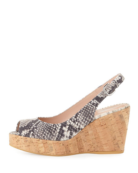 Jean Snake-Print Cork Wedge, Natural