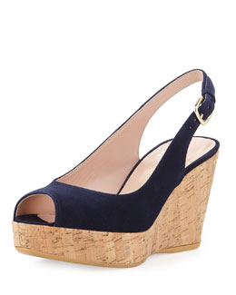 Stuart Weitzman Jean Suede Cork Wedge, Nice Blue (Made to Order)