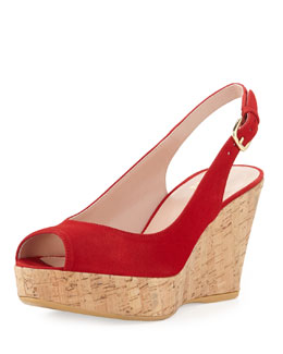 Stuart Weitzman Jean Suede Cork Wedge, Red (Made to Order)
