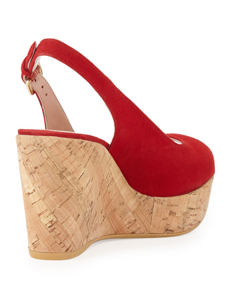 Jean Suede Cork Wedge, Red