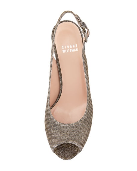Jean Glitter Cork Wedge, Pyrite