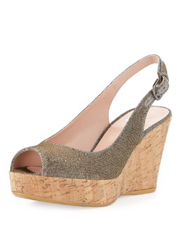 Stuart Weitzman Jean Glitter Cork Wedge, Pyrite (Made to Order)