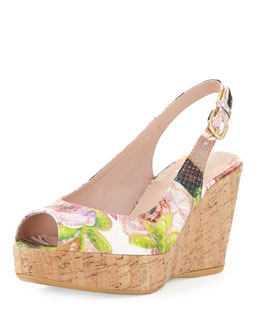 Stuart Weitzman Jean Floral Python Cork Wedge, Rose (Made to Order)