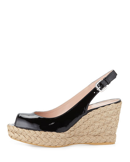 Jean Patent Jute Wedge, Black