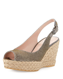 Stuart Weitzman Jean Glitter Jute Wedge, Pyrite (Made to Order)