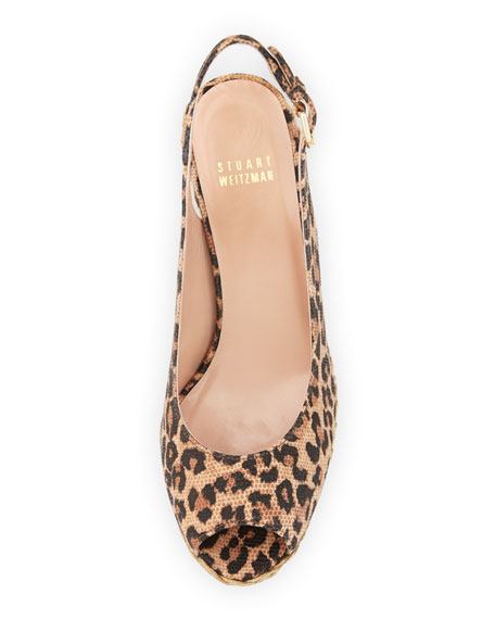 Jean Suede Jute Wedge, Tan Leopard