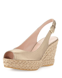 Stuart Weitzman Jean Metallic Leather Jute Wedge, Ale