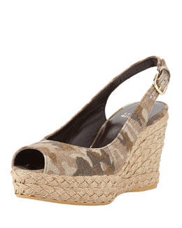 Stuart Weitzman Jean Linen Jute Wedge, Tan Camo (Made to Order)