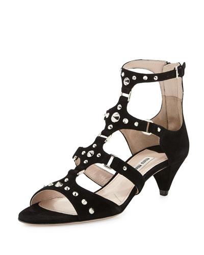 Miu Miu Studded Suede Low-Heel Sandal, Nero