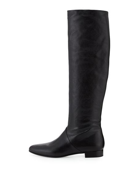 Leather Flat Knee Boot, Nero