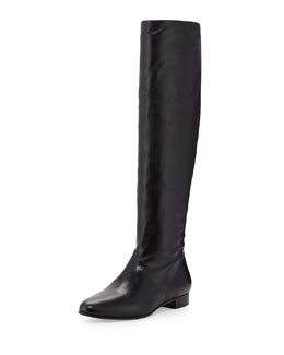 Miu Miu Leather Flat Knee Boot, Nero
