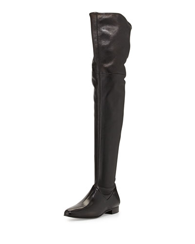 Miu Miu Leather Over-the-Knee Boot, Nero