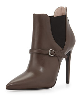 Miu Miu Pointed Elastic-Side Ankle Boot