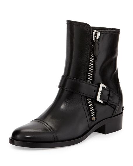 Side-Zipper Flat Ankle Boot