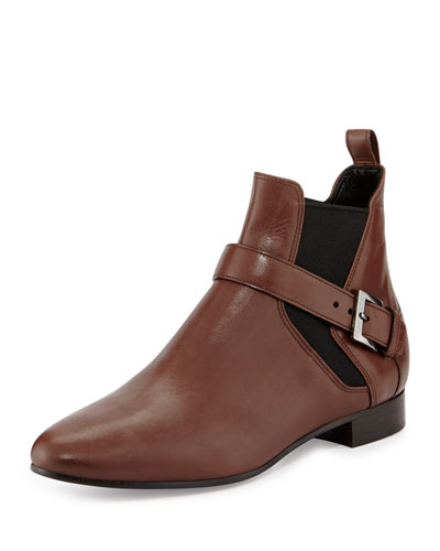Miu Miu Side-Buckle Flat Ankle Boot