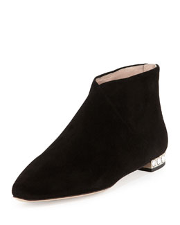Miu Miu Suede Crystal-Heel Ankle Boot, Black