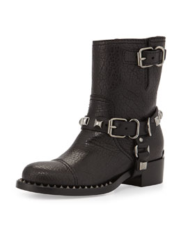 Miu Miu Short Studded Motorcycle Boot