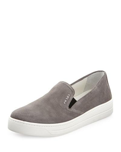 Prada Linea Rossa Suede Skate Shoe, Ghiaia (Gray)