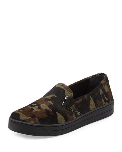 Camo-Print Calf Hair Skate Shoe, Militaire