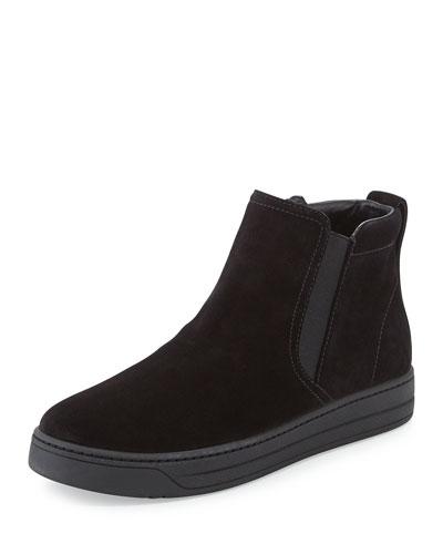 Prada Linea Rossa Suede Skate Shoe, Black