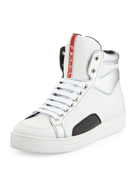 Metallic-Trim High-Top Sneaker