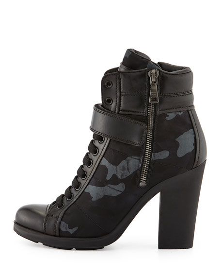 Chunky Lace-Up Camo Bootie