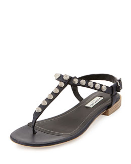 Balenciaga Giant Nickel Studded Thong Sandal, Blue