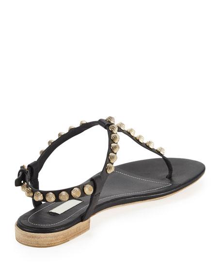 Giant Gold Studded Thong Sandal, Black