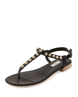 Balenciaga Giant Gold Studded Thong Sandal, Black