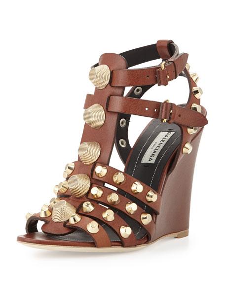 Studded T-Strap Wedge Sandal