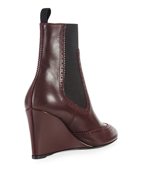 Brogue-Trim Wedge Chelsea Ankle Boot, Prune
