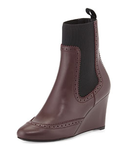 Balenciaga Brogue-Trim Wedge Chelsea Ankle Boot, Prune