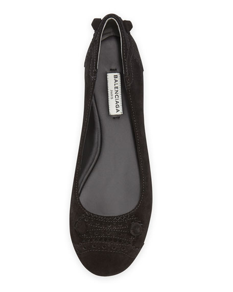 Suede Brogue Perforated Ballerina Flat, Black