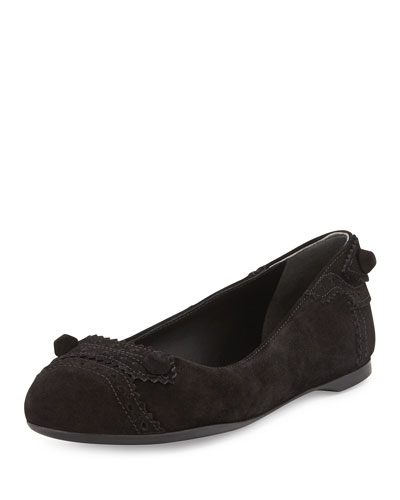 Balenciaga Suede Brogue Perforated Ballerina Flat, Black
