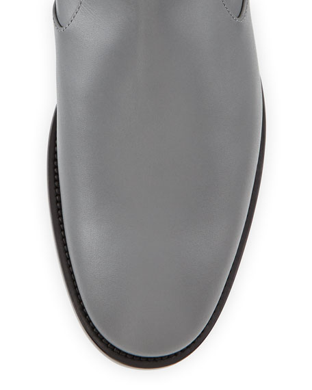 Ankle-Strap Flat Boot, Gris Cendre