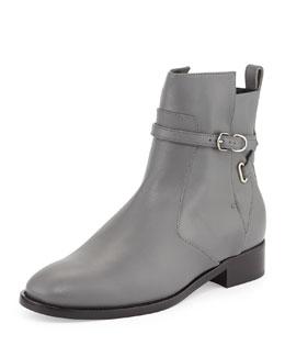 Balenciaga Ankle-Strap Flat Boot, Gris Cendre