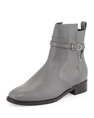 Balenciaga Ankle-Strap Flat Boot, Gris Cendre
