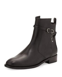 Balenciaga Ankle-Strap Flat Ankle Boot, Black