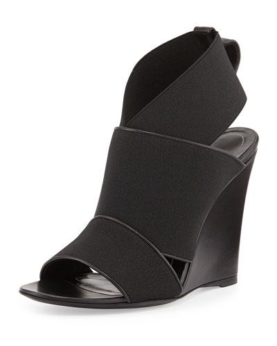 Balenciaga Elastic Wedge Sandal, Black