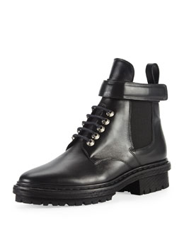 Balenciaga Leather Buckle-Strap Boot, Black