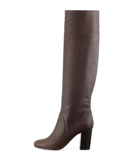 Leather Pull-On Knee Boot, Dark Brown