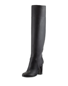 Lanvin Leather Pull-On Knee Boot, Black