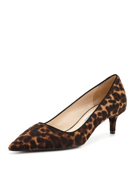 Low-Heel Calf Hair Pump, Leopard