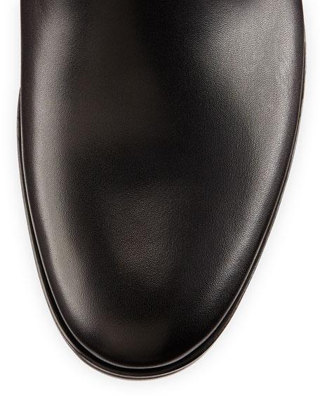 Screw-Heel Leather Knee Boot, Black