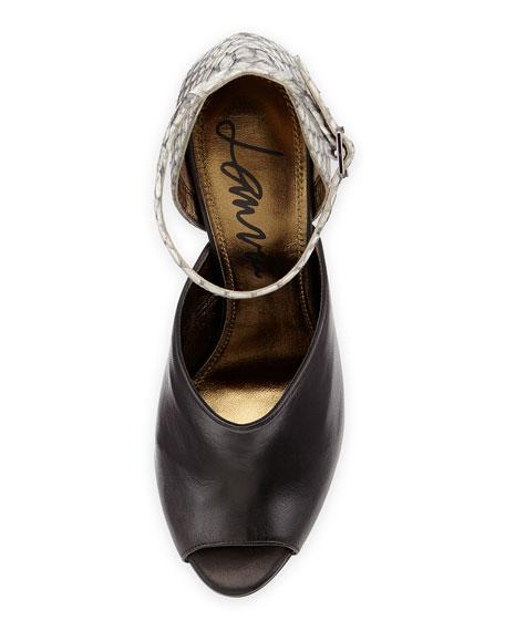 Snake & Leather Glove Sandal, Gray