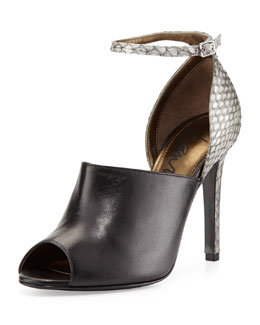 Lanvin Snake & Leather Glove Sandal, Gray