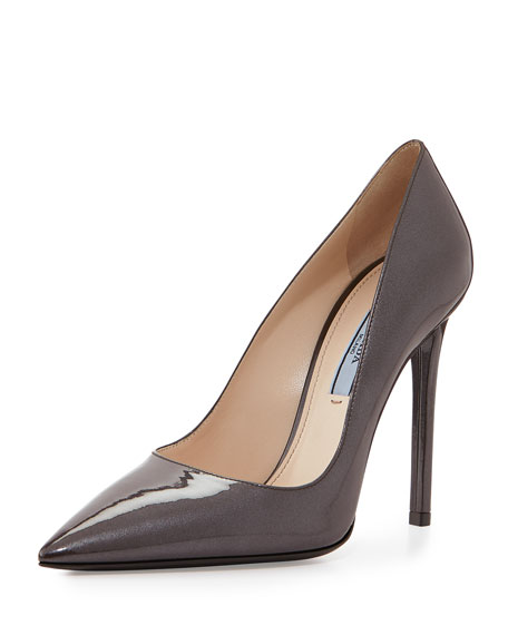 Prada Patent Leather Point-Toe Pump, Brown