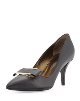 Lanvin Leather Point-Toe Buckle Pump, Black