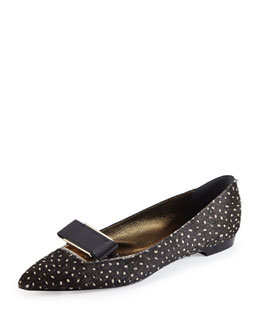 Lanvin Spotted Calf Hair Bow-Buckle Flat
