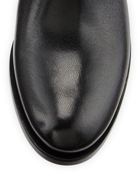 Flat Double-Buckle Moto Boot, Black